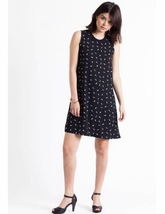Alef Alef | אלף אלף - בגדי מעצבים | Sample#45 | שמלת Reef שחור דפוס לבן