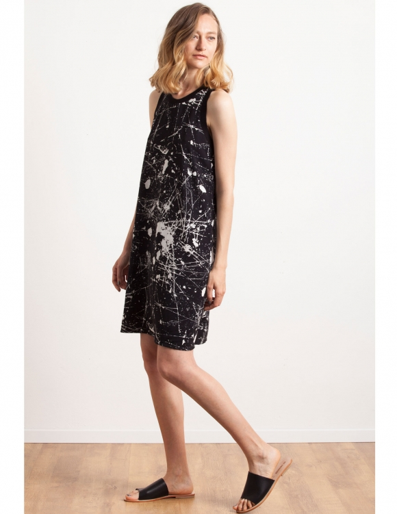Alef Alef | אלף אלף - בגדי מעצבים | Sample#48 | שמלת Memphis שחור שפריץ לבן