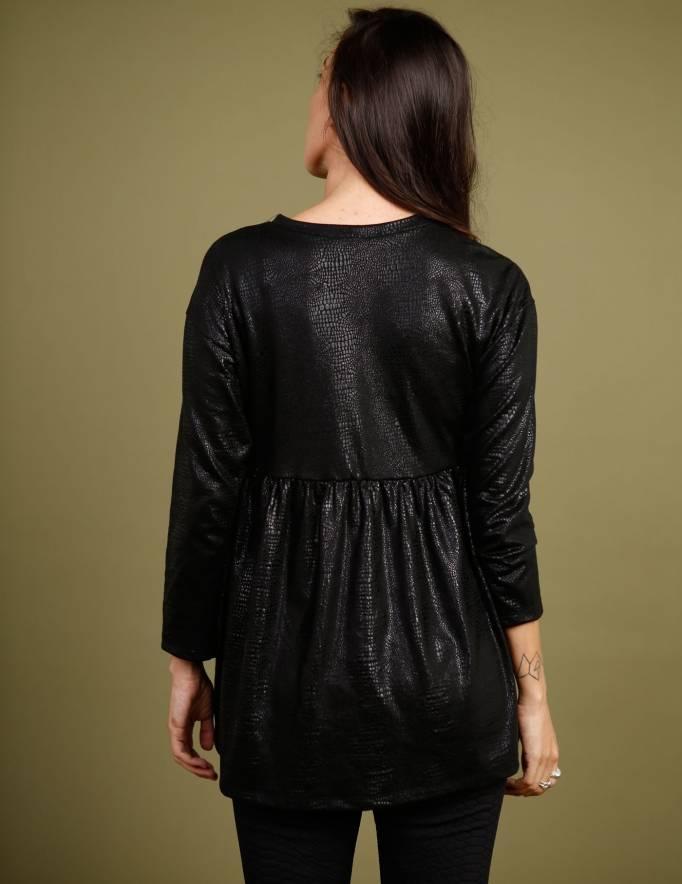 Alef Alef   אלף אלף - בגדי מעצבים   חולצת Ina   שחור נחש