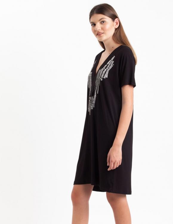 Alef Alef | אלף אלף - בגדי מעצבים | Sample#31 | שמלת Koh Tao שחור רקמה לבנה