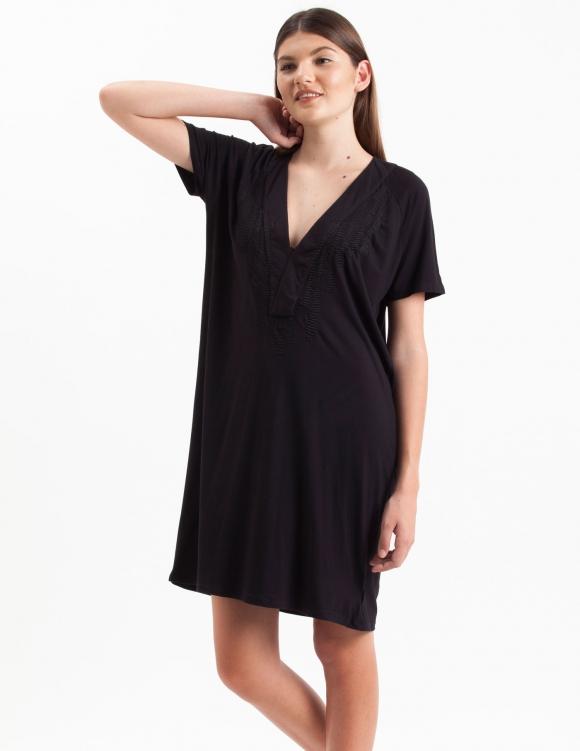 Alef Alef | אלף אלף - בגדי מעצבים | Sample#30 | שמלת Koh Tao שחור רקמה שחורה