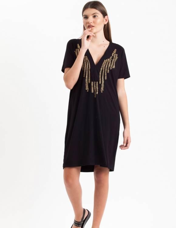Alef Alef | אלף אלף - בגדי מעצבים | Sample#29 | שמלת Koh Tao שחור רקמה זהב