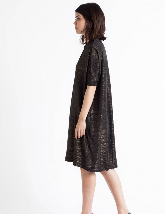 Alef Alef | אלף אלף - בגדי מעצבים | Sample#13 | שמלת Porto שחור זהב