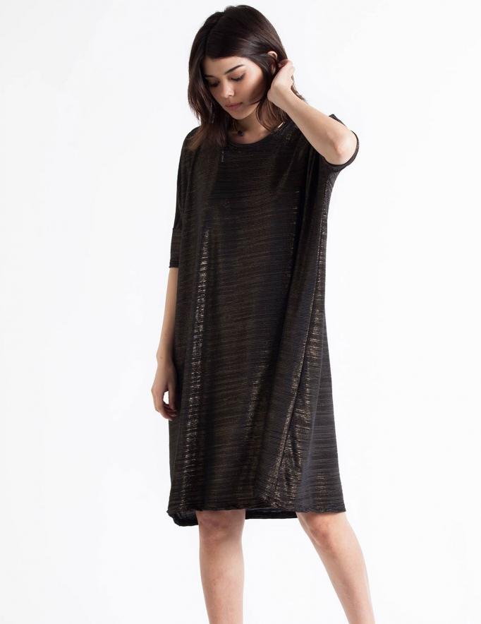 Alef Alef   אלף אלף - בגדי מעצבים   Sample#13   שמלת Porto שחור זהב