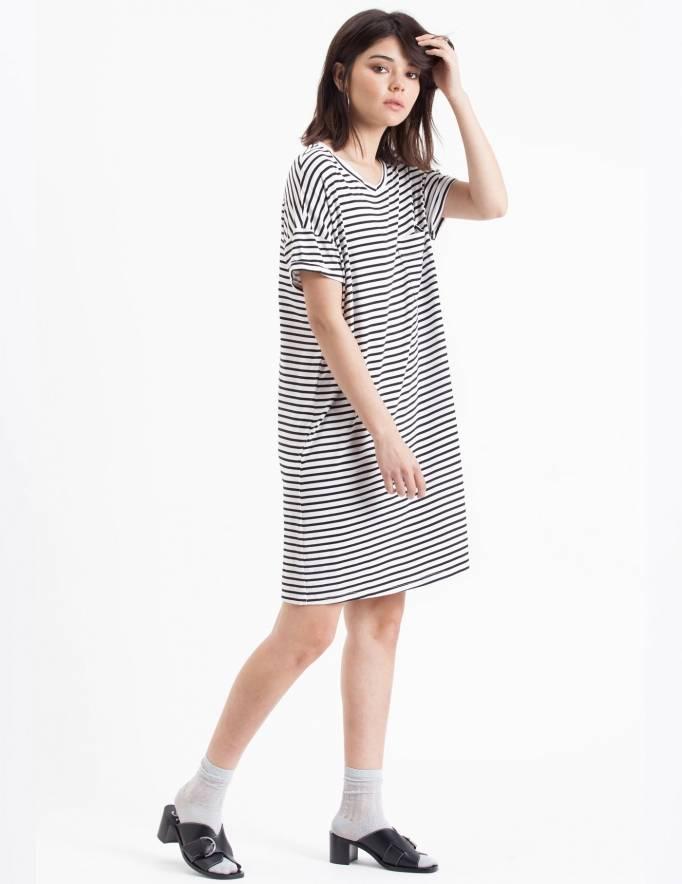 Alef Alef | אלף אלף - בגדי מעצבים | Sample#34 | שמלת Doro לבן פס שחור