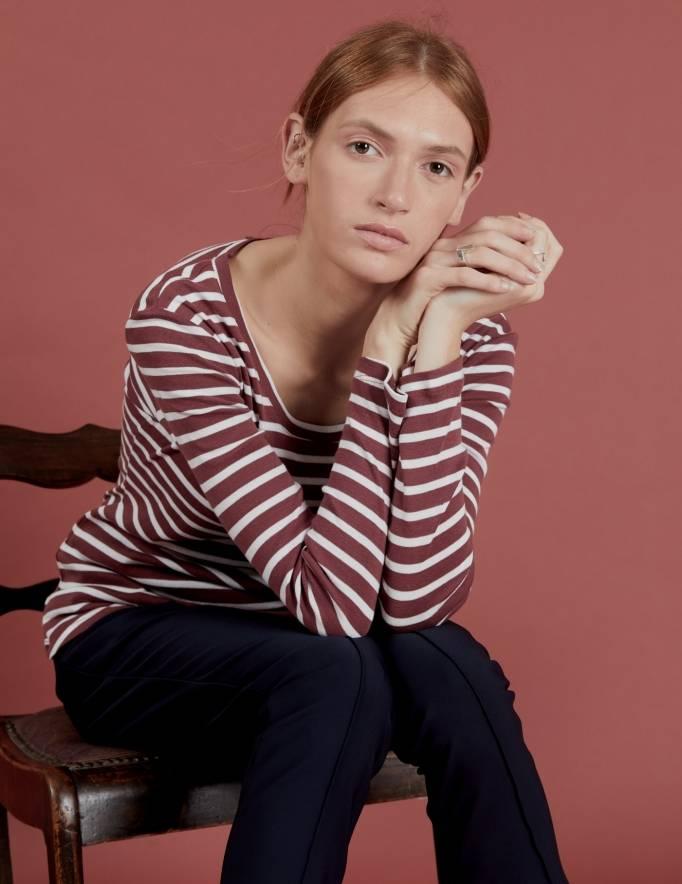 Alef Alef | אלף אלף - בגדי מעצבים | חולצת Tamar | פסים בורדו