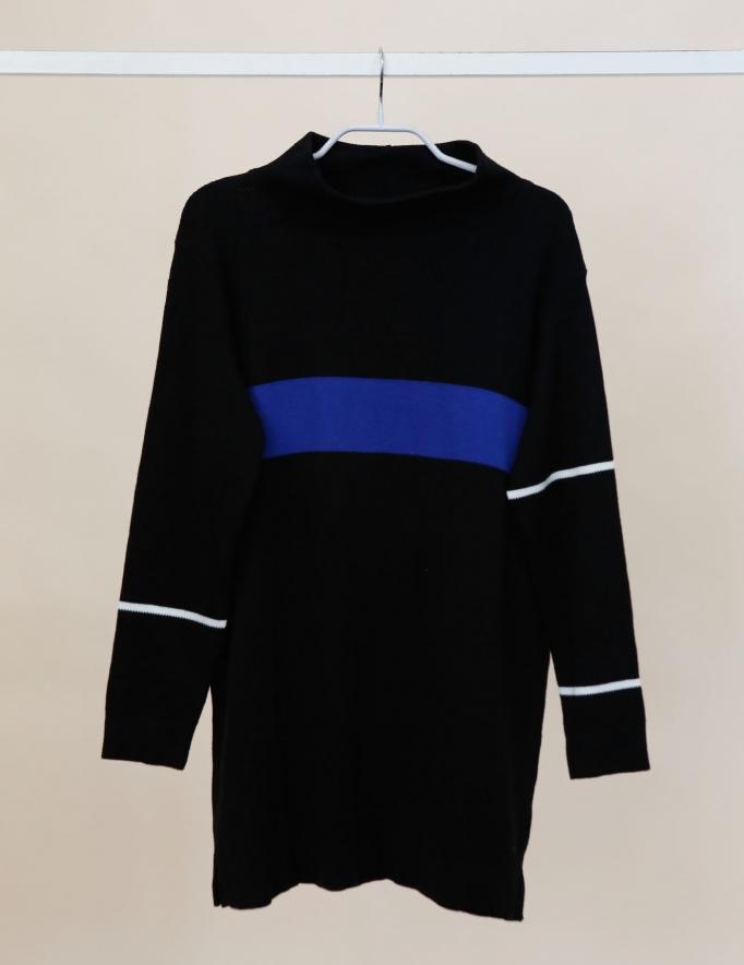 Alef Alef | אלף אלף - בגדי מעצבים | Sample| סוודר Adam שחור פס כחול