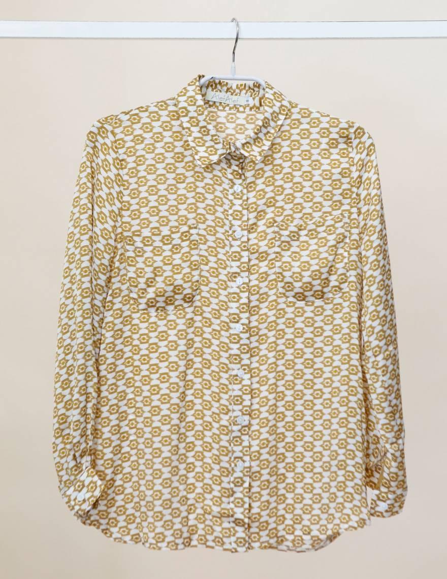 Alef Alef | אלף אלף - בגדי מעצבים | Sample | חולצה מכופתרת דפוס חרדל