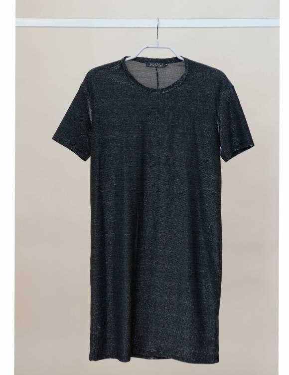 Alef Alef | אלף אלף - בגדי מעצבים | Sample | שמלת טי-שירט שחור כסף