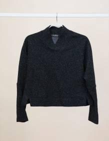 Alef Alef | אלף אלף - בגדי מעצבים | Sample#94 | סוודר Heart שחור נק' לבנות