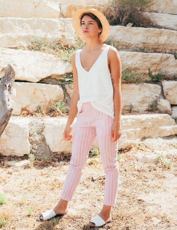 Alef Alef | אלף אלף - בגדי מעצבים | מכנסי Leon ורוד פס לבן