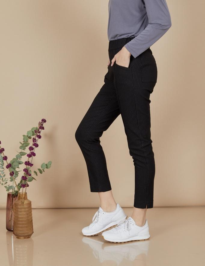 Alef Alef   אלף אלף - בגדי מעצבים   מכנסי Coco   שחור פסים
