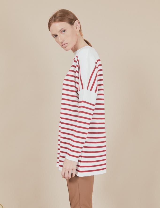 Alef Alef | אלף אלף - בגדי מעצבים | סוודר Rom | פסים אדום לבן