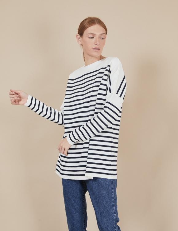 Alef Alef | אלף אלף - בגדי מעצבים | סוודר Rom | פסים כחול לבן