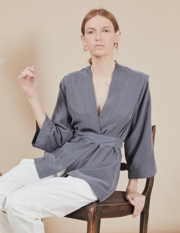 Alef Alef | אלף אלף - בגדי מעצבים | קימונו Valentina אפור