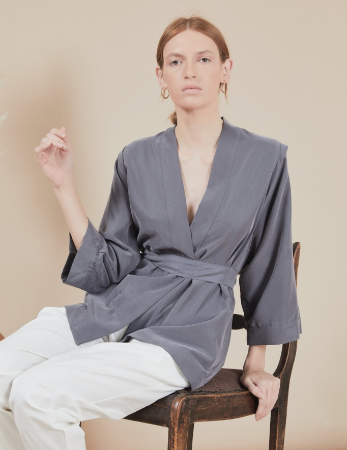 Alef Alef   אלף אלף - בגדי מעצבים   קימונו Valentina אפור
