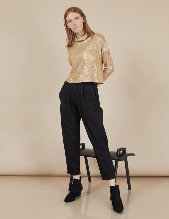 Alef Alef   אלף אלף - בגדי מעצבים   מכנסי Curie שחור