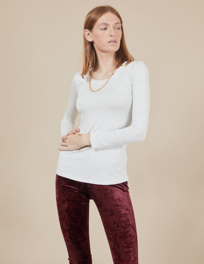 Alef Alef | אלף אלף - בגדי מעצבים | חולצת Tamar | שמנת אפור