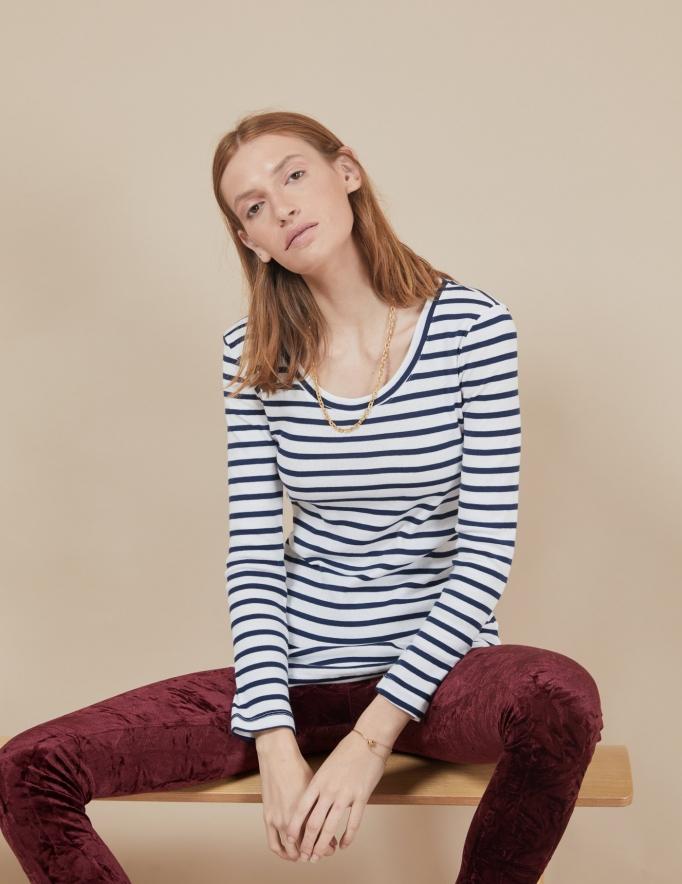 Alef Alef | אלף אלף - בגדי מעצבים | חולצת Tamar | פסים כחול לבן