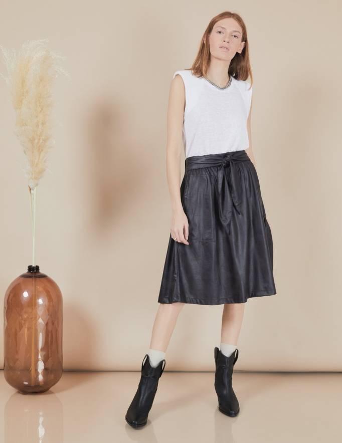 Alef Alef | אלף אלף - בגדי מעצבים | חצאית Florence שחור עור
