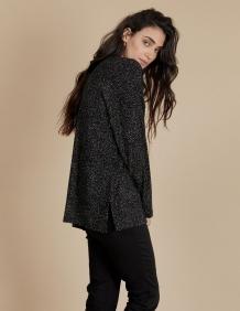 Alef Alef | אלף אלף - בגדי מעצבים | חולצת Angela שחור דפוס בז'