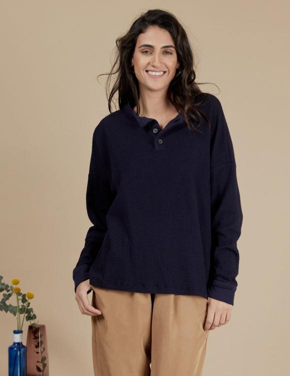 Alef Alef | אלף אלף - בגדי מעצבים | חולצת Greta נייבי