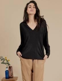 Alef Alef | אלף אלף - בגדי מעצבים | חולצת Angela שחור נצנץ