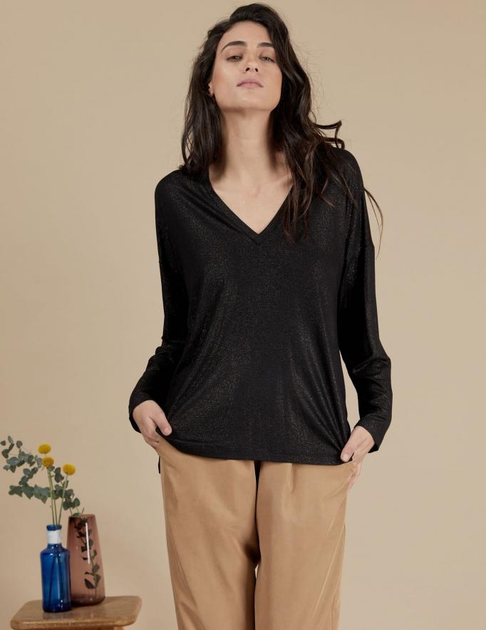 Alef Alef   אלף אלף - בגדי מעצבים   חולצת Angela שחור נצנץ