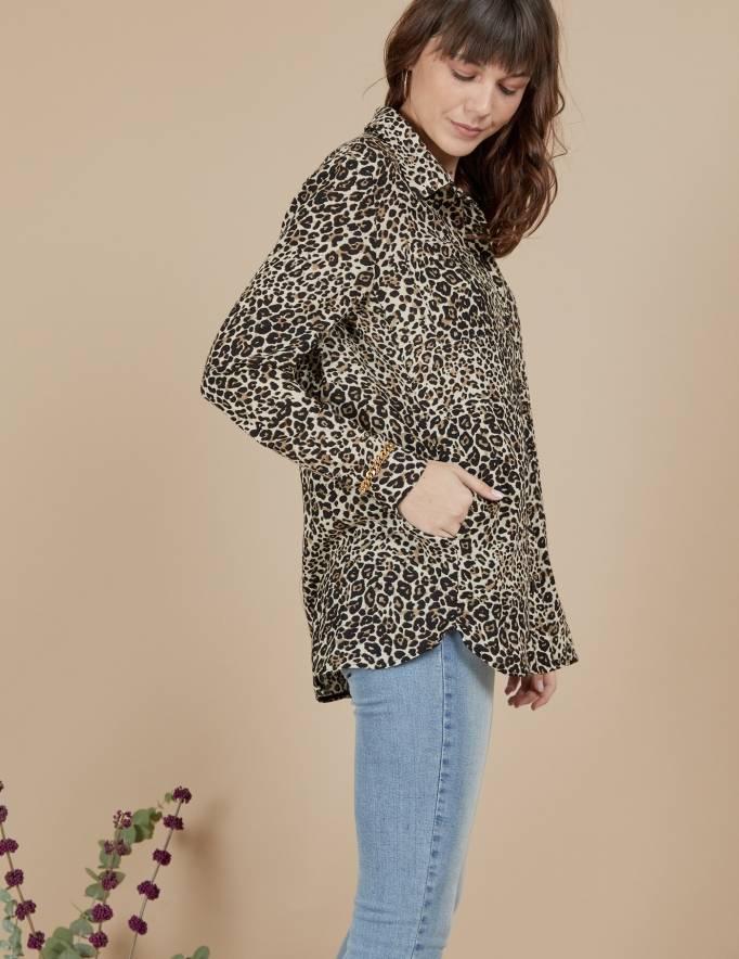 Alef Alef | אלף אלף - בגדי מעצבים | חולצת Joan | מנומר חום