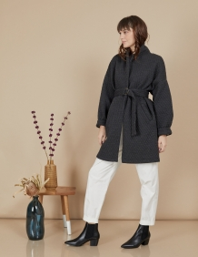 Alef Alef | אלף אלף - בגדי מעצבים | מעיל Nellie אפור טקסטורה