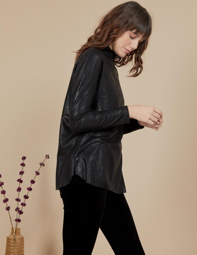 Alef Alef | אלף אלף - בגדי מעצבים | חולצת Susan | שחור מבריק