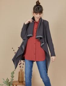 Alef Alef | אלף אלף - בגדי מעצבים | עליונית Frida אפור כהה