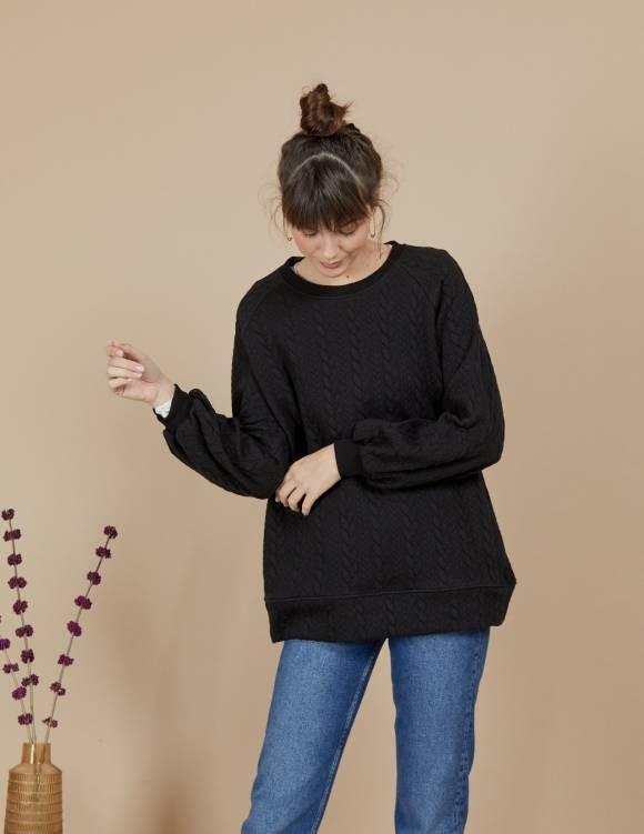 Alef Alef | אלף אלף - בגדי מעצבים | סווטשירט Magie שחור
