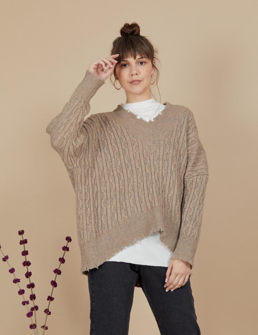 Alef Alef | אלף אלף - בגדי מעצבים | סוודר Matilda בז' OS