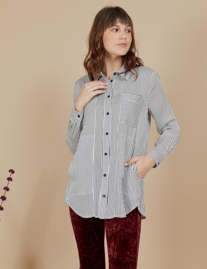 Alef Alef | אלף אלף - בגדי מעצבים | חולצת Joan | לבן פס שחור