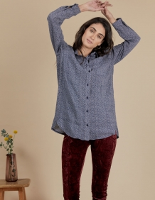 Alef Alef | אלף אלף - בגדי מעצבים | חולצת Joan | כחול דפוס