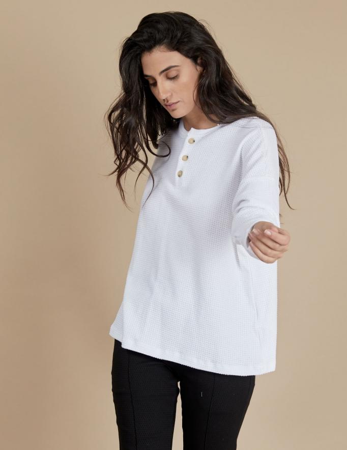 Alef Alef   אלף אלף - בגדי מעצבים   חולצת Greta לבן