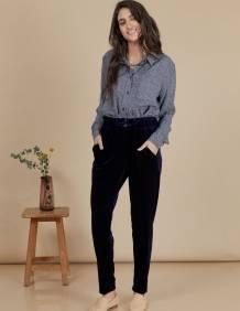 Alef Alef   אלף אלף - בגדי מעצבים   מכנסי Katya נייבי