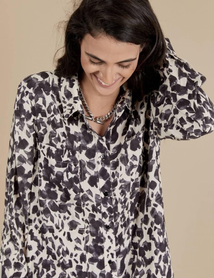 Alef Alef   אלף אלף - בגדי מעצבים   חולצת Joan   ניוד מודפס