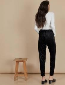 Alef Alef   אלף אלף - בגדי מעצבים   מכנסי Katya שחור נצנץ