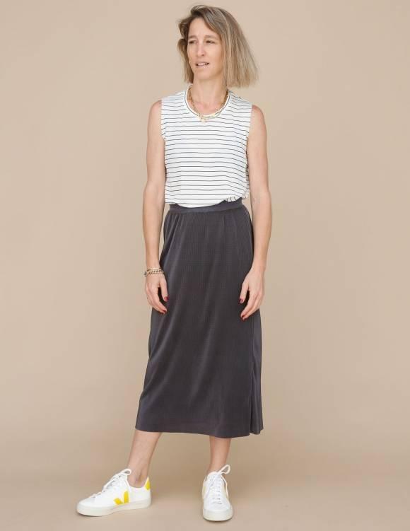 Alef Alef   אלף אלף - בגדי מעצבים   חצאית Rosen אפור כהה