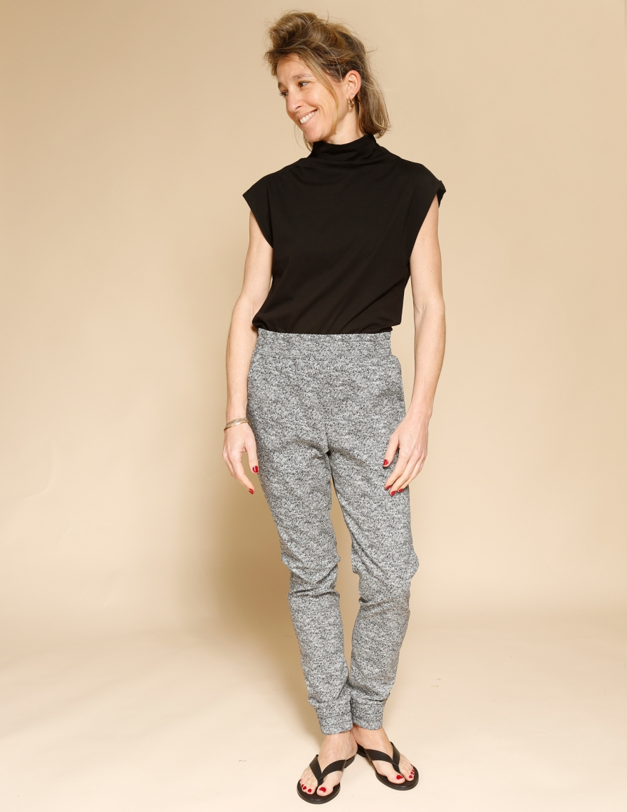 Alef Alef   אלף אלף - בגדי מעצבים   מכנסי Dayan דפוס שחור לבן