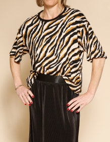 Alef Alef | אלף אלף - בגדי מעצבים | חולצת Miller זברה בז'/שחור