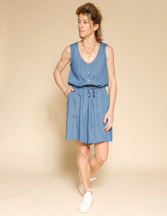 Alef Alef | אלף אלף - בגדי מעצבים | אוברול WAXMAN ג'ינס פסים
