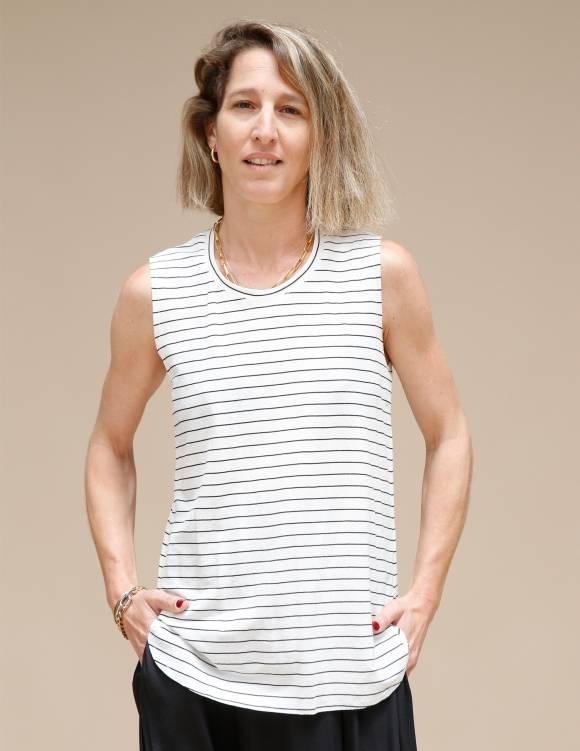 Alef Alef   אלף אלף - בגדי מעצבים   גופית LEVY לבן פס שחור