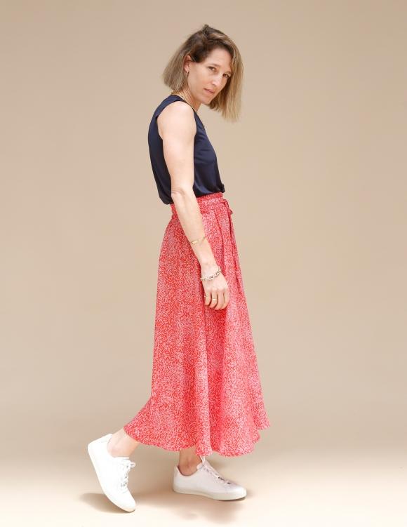 Alef Alef   אלף אלף - בגדי מעצבים   חצאית ATIAS אדום דפוס