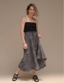 Alef Alef   אלף אלף - בגדי מעצבים   חצאית ATIAS שחור דפוס