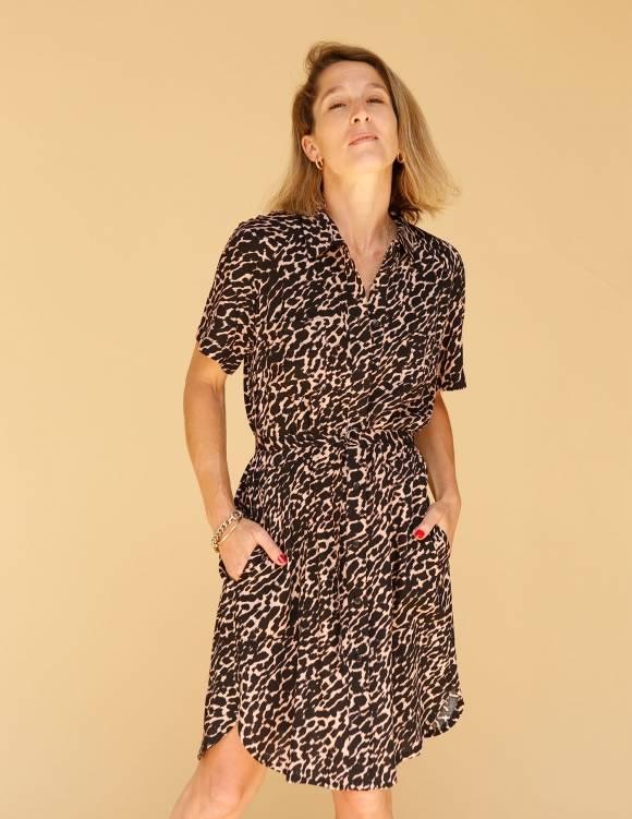 Alef Alef   אלף אלף - בגדי מעצבים   שמלת Damari פודרה דפוס שחור