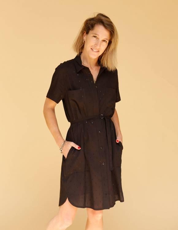 Alef Alef   אלף אלף - בגדי מעצבים   שמלת Damari שחור דפוס מבריק